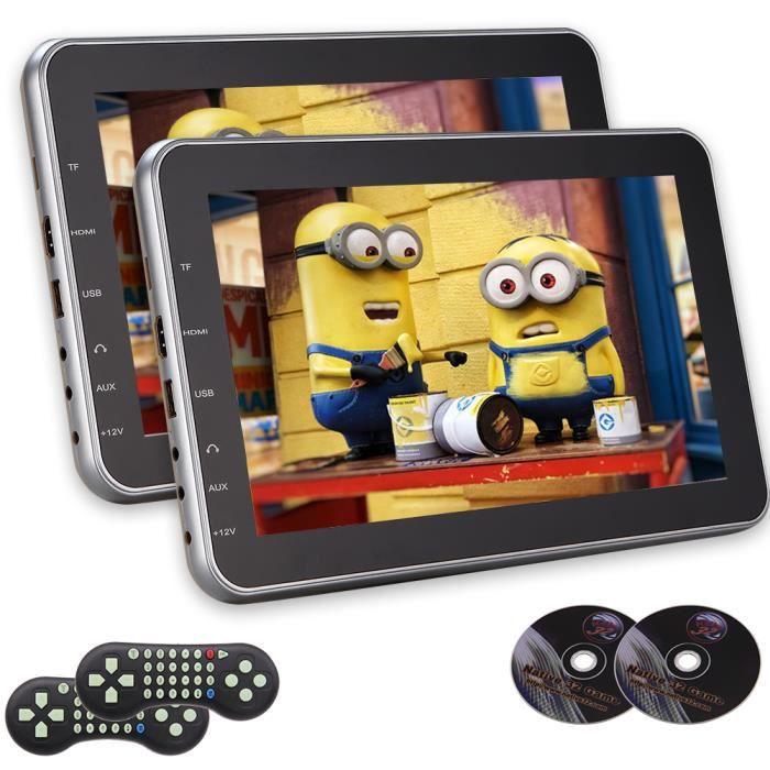 Twins EinCar 10.1- Tablet-style ultra-mince voiture Lecteur DVD Têtière Plug-and-Play Entertainment System arrière-Siège avec USB -