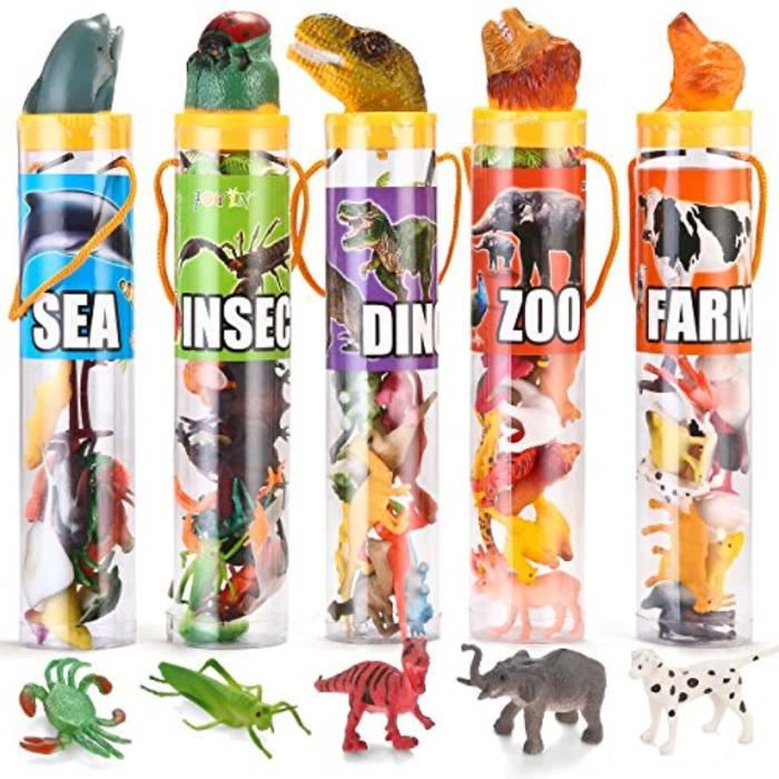 Figurine Miniature X93FK 69 pièces monde naturel animal dinosaure insecte animal de mer animaux de ferme figures animales bas stuffe