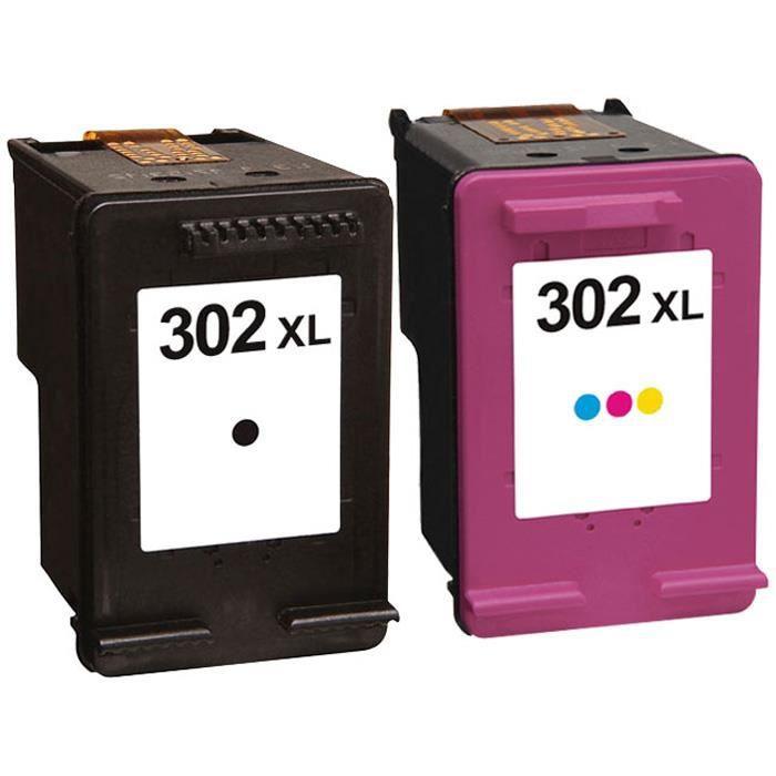 Packs 2 cartouches pour HP 302XL Noire et Couleur Compatible Envy 4524