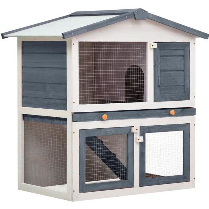 Clapier lapin extérieur 3 portes - Cage Clapier lapin Cage de transport Gris Bois Excellent ♫37058
