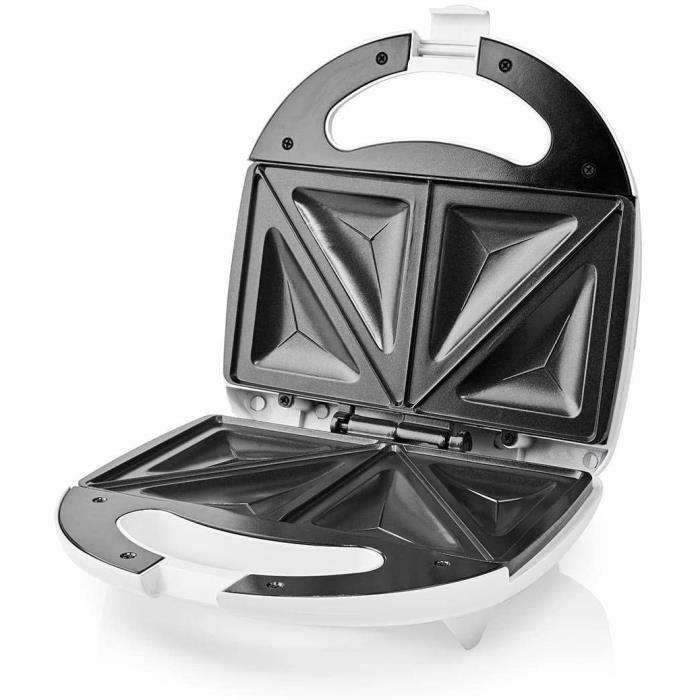 SANDWICH ET PANINI Nedis Grill compact Appareil à Croque-Monsieur - 800 W - Blanc Blanc49