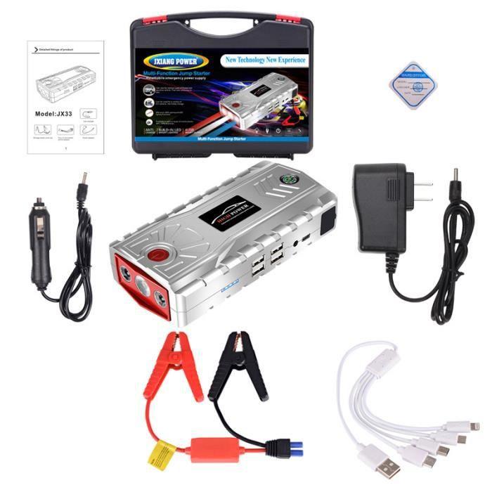 Sliver Car Jump Starter Dispositif de démarrage d'urgence 12V 19000mAh Mobile Power Bank Car Portable Charger Battery Booster avec L