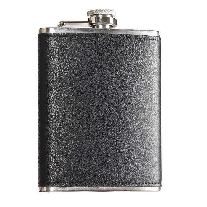 Heesung Flasque en acier inoxydable avec cuir, flasque à whisky et bouteille à liqueur 20,3 g, flasque vintage en métal attaché à