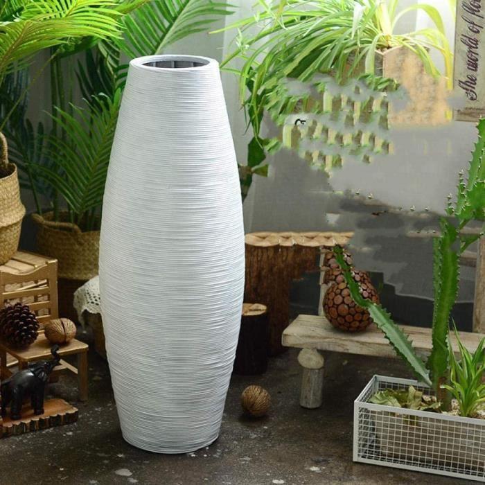 VASE - SOLIFLORE GangKun Tissage de Bambou Blanc à la Main, vases du Sol au Plafond, compositions Florales s&eacutech&ea257