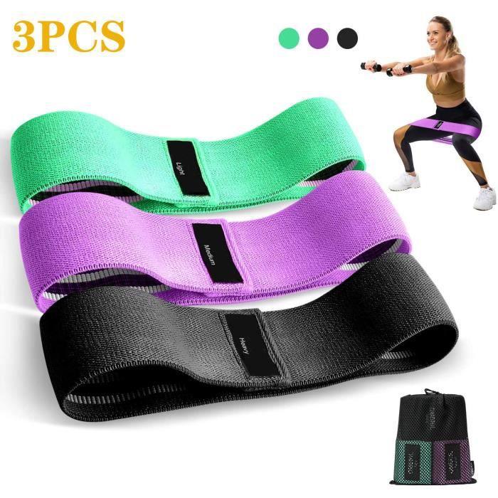 3PCS Bande Élastique Fitness en Tissu, Bande de Résistance 3 Niveaux de Force, Équipement d'Exercices pour Musculation Pilates Yoga