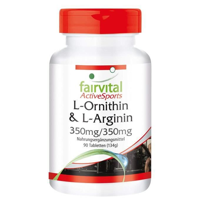 L-ornithine et L-arginine 350 mg - 350 mg - - pendant 22 jours - végan - dosage élevé - 90 comprimés - Acides aminés