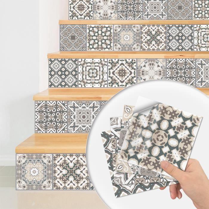 Stickers carrelage ,Autocollants de Carreaux rétro mosaïque Style marocain Transfert Carreaux Bricolage (10 pièces,20 x 20 cm)