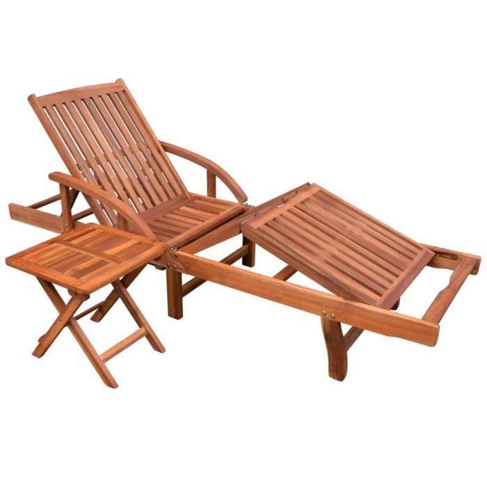 MAGIC Chaise longue avec table Bois d'acacia solide