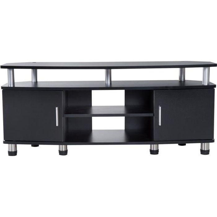 Meuble banc TV design contemporain multi-rangements : 2 portes niche centrale étagère grand plateau 120L x 40l x 52H cm noir chromé