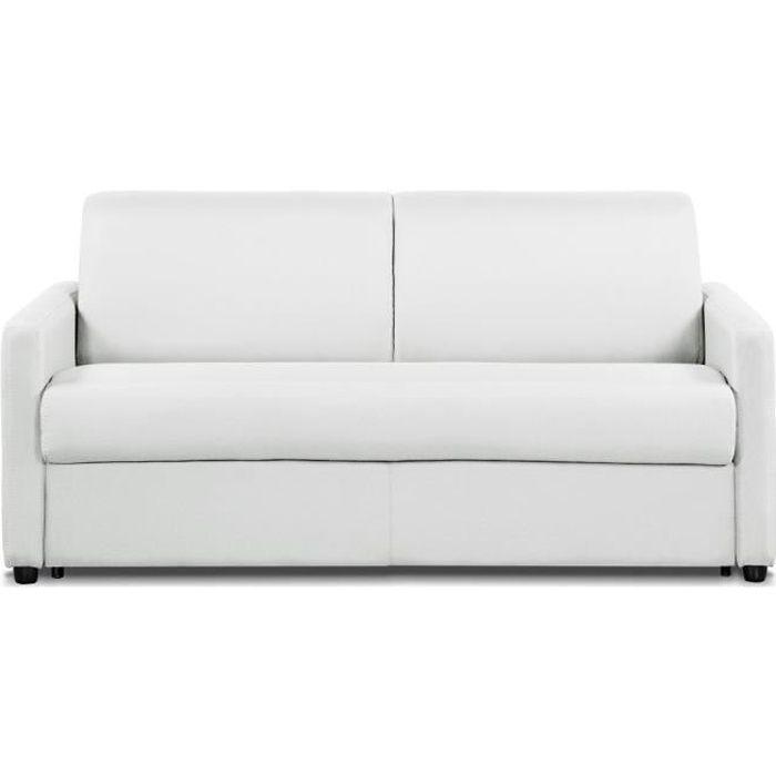 Canapé convertible DAY EXPRESS mono assise matelas 14cm polyuréthane blanc blanc Tissu Inside75