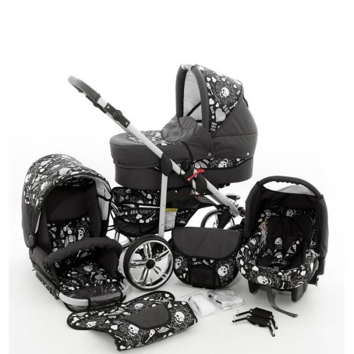 Rock Baby 3 en 1 Poussette combinée (siège auto inclus les adaptateurs, habillage pluie, moustiquaire, roues pivotantes 62 couleu...