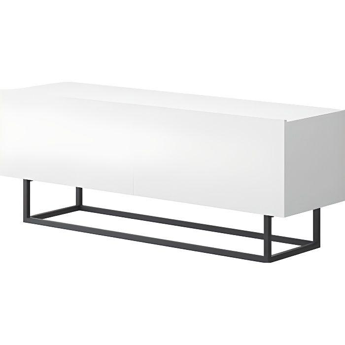 Meuble télé ENJOY style industriel blanc