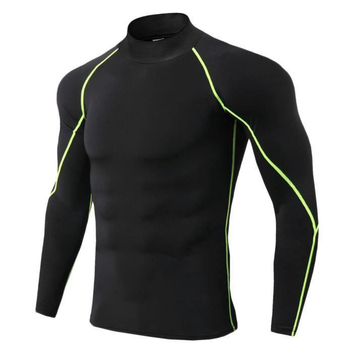 Maillot Compression À Manches Longues Pour Homme Tee Shirt De Sport Séchage Rapide Baselayer Haut Vert XL
