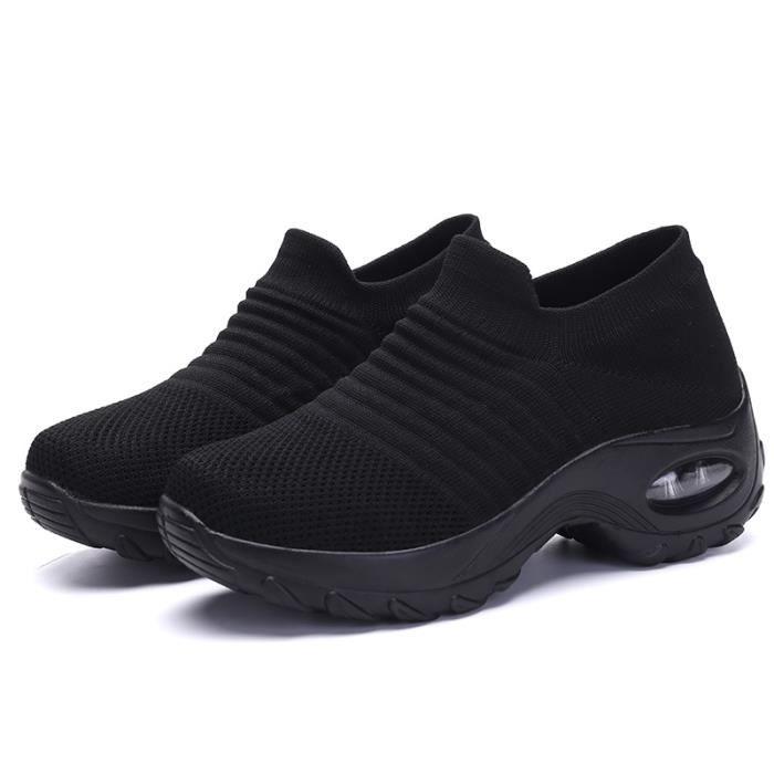 Chaussures de course de sport en maille pour hommes et femmes-noir