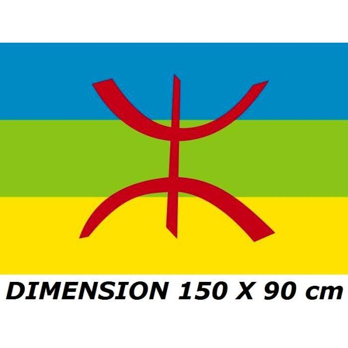 DRAPEAU 150 X 90 cm KABYLIE KABYLE ALGERIE ALGERIEN No maillot écharpe fanion casquette ...