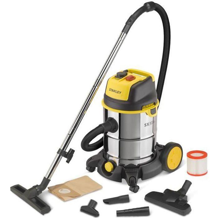 STANLEY Aspirateur eau et poussière 1600 W cuve 30 L en inox avec prise pour outil électroportatif