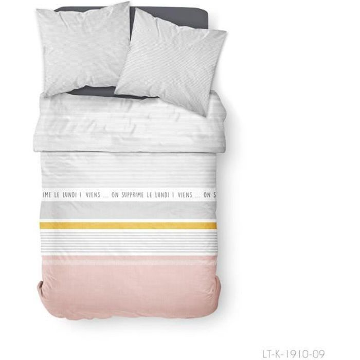 Parure de lit 2 personnes 220X240 Coton imprime gris Graphique SUNSHINE
