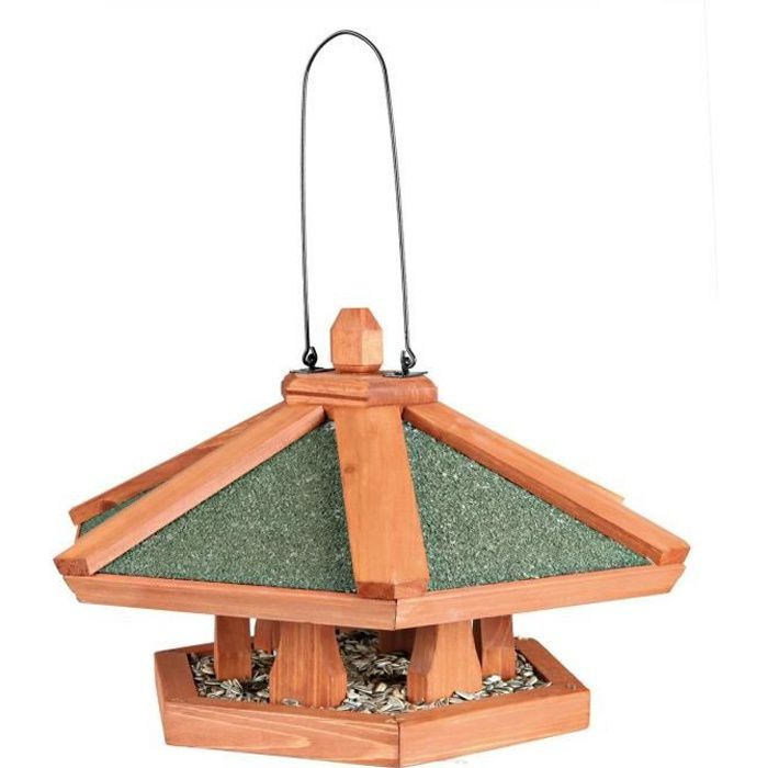 NATURA Mangeoire suspendue pour oiseaux ø 42 × 24 cm naturel