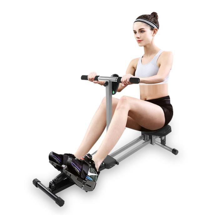 Rameur d'Appartement Pliable à Résistance 12 Niveaux - Ecran LCD Charge Max 120KG Musculation des Bras - Cardio-Training -VGEBY