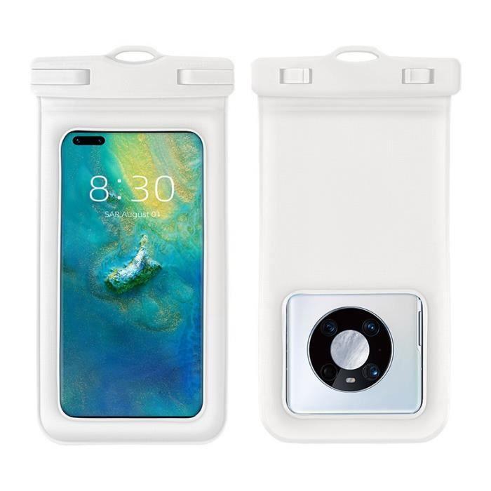 Sac étanche pour téléphone flottant en éponge, Grand sac étanche transparent pour téléphone portable (blanc)
