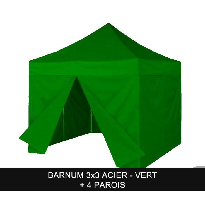 barnum pliant 3x3m acier vert parois achat vente. Black Bedroom Furniture Sets. Home Design Ideas