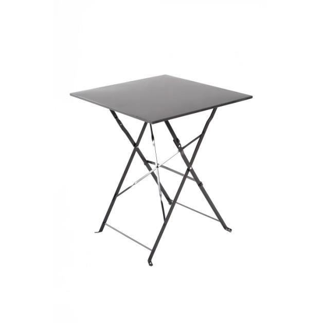 Table bistrot carr e gris carbone achat vente table - Table bistrot carree ...