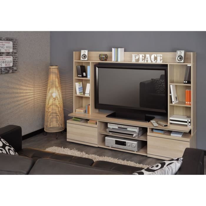 meuble tv clarck achat vente meuble tv meuble tv clarck panneau de particules paisseur 15. Black Bedroom Furniture Sets. Home Design Ideas