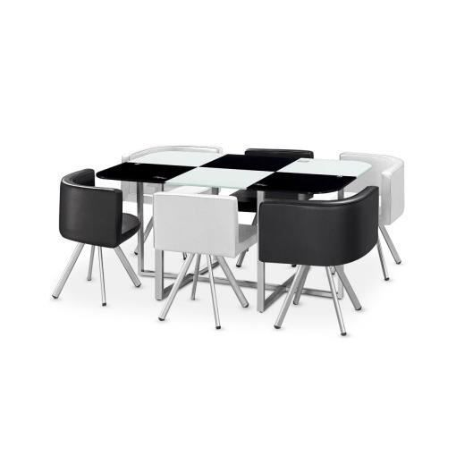 table en verre noir et blanc six achat vente table a. Black Bedroom Furniture Sets. Home Design Ideas