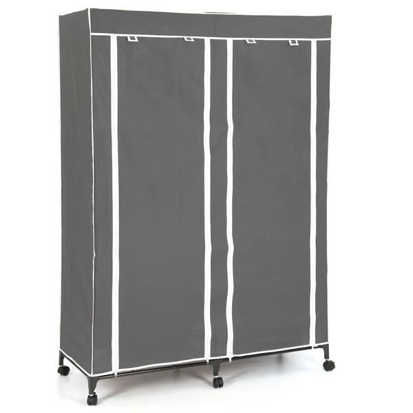 armoire avec penderie 5 etageres gris achat vente. Black Bedroom Furniture Sets. Home Design Ideas
