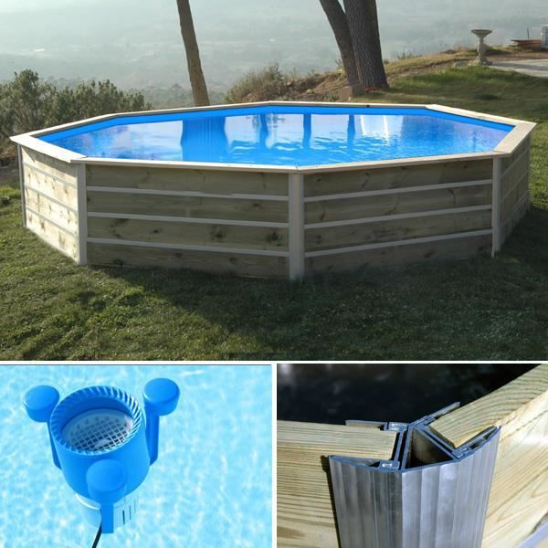 Piscine bois ronde waterclip kid 430 x 76 cm achat for Piscine bois occasion