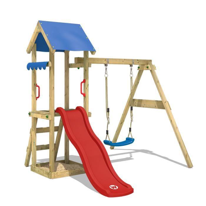 WICKEY Siège de balançoire en bois pour enfants aire de jeux portique en bois