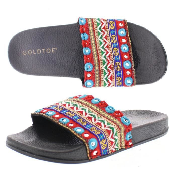 Women's Goldtoe Colorful Boho Embellished Open Toe Flat Pool Slides Sandals, Casual Slip On Shoes E42M3 Taille-40