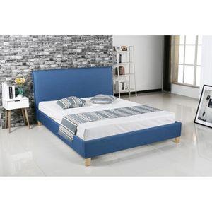 STRUCTURE DE LIT Lit scandinave en tissu bleu BROOK 160x200 cm