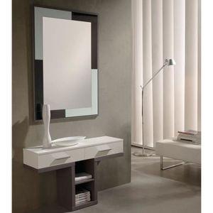 MEUBLE D'ENTRÉE Meuble d\'entrée Blanc/Cendre + miroir - BRAHA  -