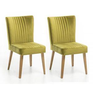 CHAISE Lot 2 chaises chêne et VELOURS vert - ROYAL