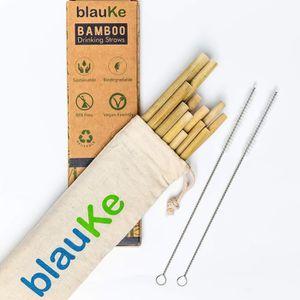 - Excellente Alternative au Pailles en Plastique Non Toxique Set de 12 Pailles Biod/égradables 22cm Pailles en Bambou Reutilisables Avec 2 Brosses de Nettoyage et Sac 100/% Naturelle /Écologiques