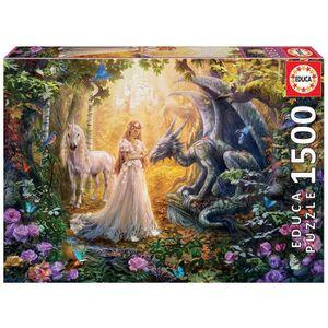 PUZZLE EDUCA Puzzle 1500 Dragon, Princesse Et Licorne