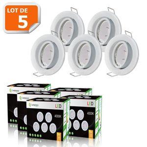 SPOTS - LIGNE DE SPOTS LOT DE 5 SPOT LED ENCASTRABLE COMPLETE ORIENTABLE