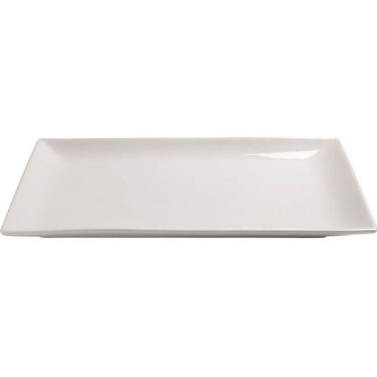 Visiodirect Lot DE 6 Assiettes RECTANGULAIRES Noires Kuro Porcelaine L250 x lg150 x H20 mm