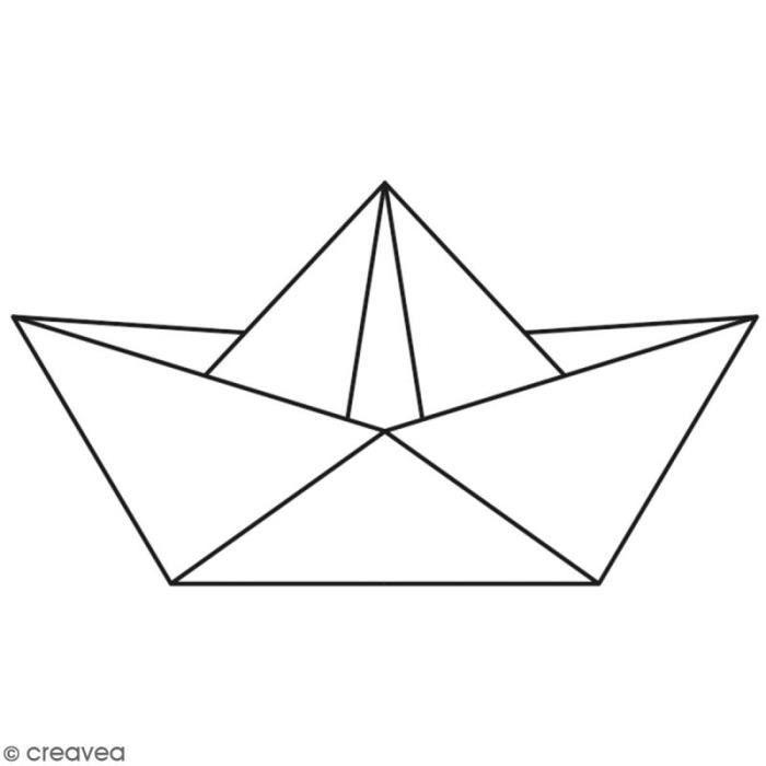 Tampon Bois Artemio - Bateau origami - 6,5 x 3,5 cm