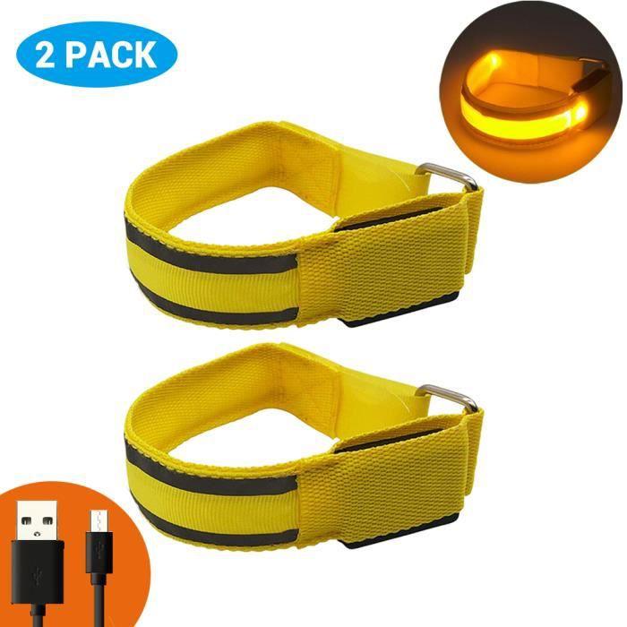 2Pcs Brille dans le noir brassards LED brassard réfléchissant de sécurité Rechargeable USB -Jaune