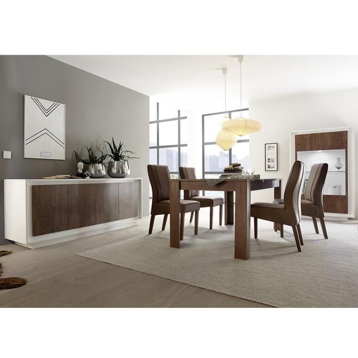 Salle à manger complète blanc laqué mat et couleur bois MARCEAU Sans L 180 cm Sans rallonge L 106 x P 50 x H 171 cm Marron