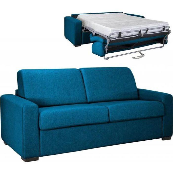 GRETA - Canapé convertible 3 places en tissu bleu pétrole ouverture express matelas 18 cm