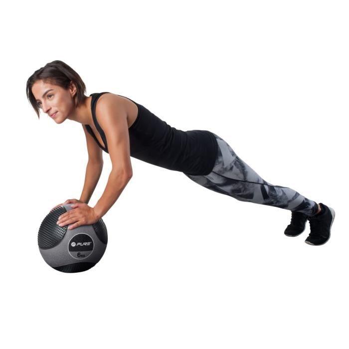Haute qualité-Luxueux Magnifique-Balle de médecine - Ballon médicinal - Medicine ball - 6 kg Gris🥳5276