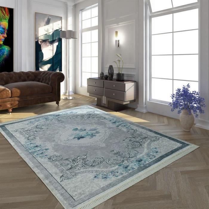 Tapis Moderne Avec Motif Vintage Imprimé Design Tendance Gris Turquoise [160x230 cm]