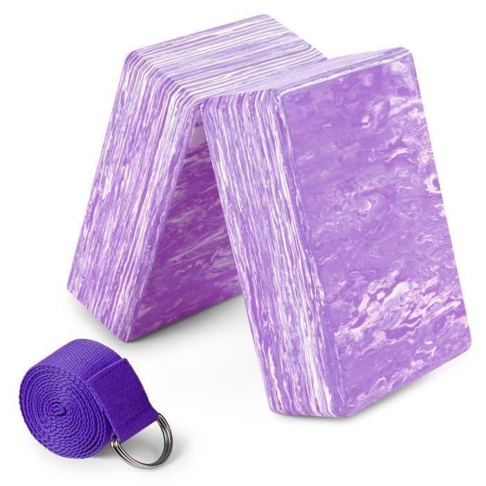 2pcs Yoga Bloquer moussant mousse brique exercice de remise en forme Stretching aide Gym + Bande élastique de fitness violet
