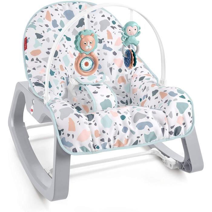 GWD39 2-en-1 Transat Évolutif Terrazzo Bébé avec Vibrations Apaisantes-Siège à Bascule Jeune Enfant Jusqu'à 18 kg