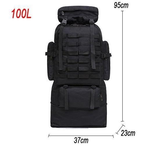 Black 100L -Sac à dos militaire tactique pour homme, accessoire de Camping, grande taille, idéal pour les voyages, les randonnées, l