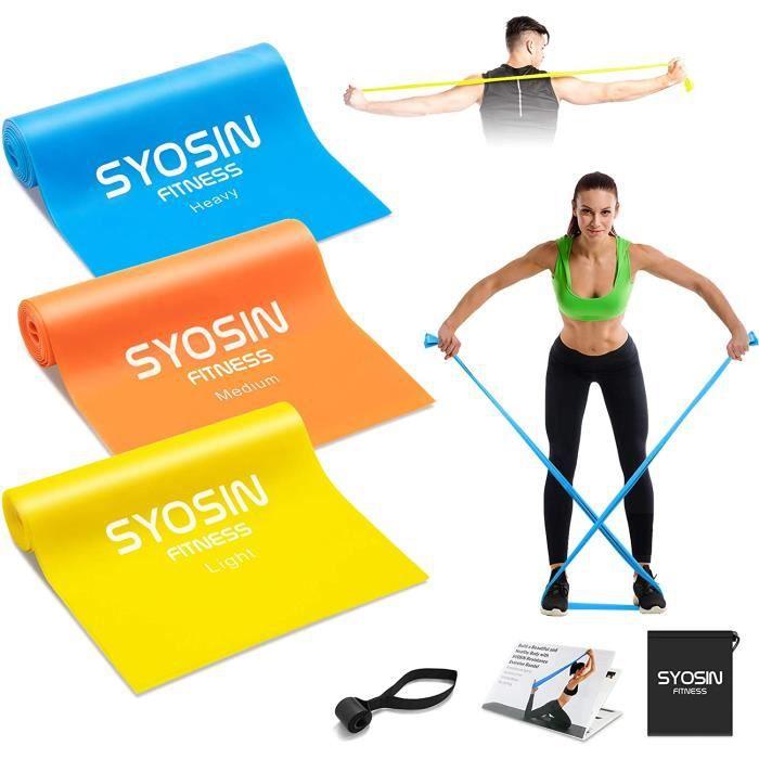 Bande Elastique Fitness,Élastique Musculation Bande de Resistance [Lot de 3], Elastique de Sport Pilates Yoga d'Étirement Rééducatio