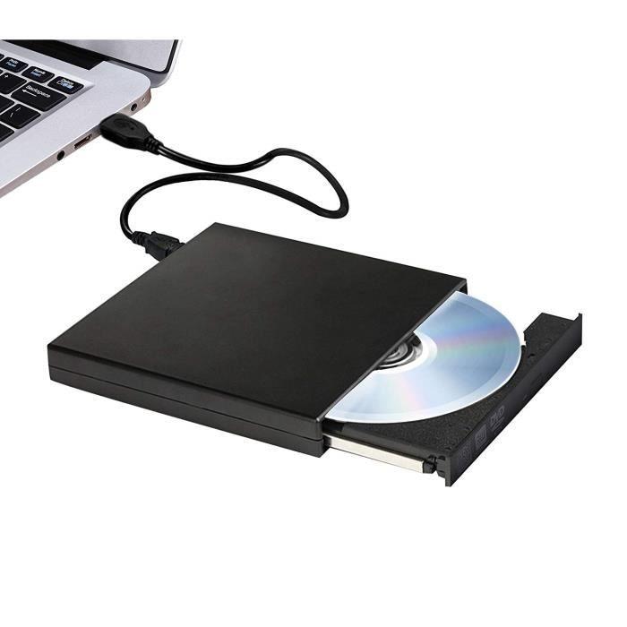 Lecteur CD/DVD Externe,Enregistreur DVD/CD Externe CD +/-RW, Lecteur Externe Portable Optical, Lecteur de DVD Externe USB 2.0 pour W